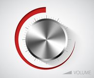 Chrome volume knob. With scale on white background Stock Images