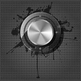 Chrome volume knob with splash. On the metallic background Stock Images