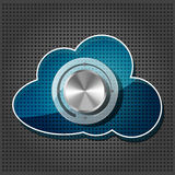 Chrome volume knob with transparency cloud. Computing icon plate on the metallic background Royalty Free Stock Images