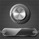 Chrome volume knob with transparency plate. On the metallic background Stock Photography
