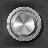 Chrome volume knob with transparency plate. On the metallic background Royalty Free Stock Image