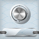 Chrome volume knob with transparency plate. On the blue waved background Stock Image