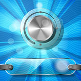 Chrome volume knob with transparency plate and rays. On the blue waved background Stock Photos
