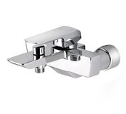Chrome wall type faucet Stock Images