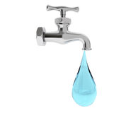 Chrome Water Tap with Drop Stock Photography