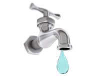 Chrome Water Tap with Drop Royalty Free Stock Image