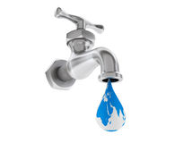 Chrome Water Tap with Earth Globe as Drop Stock Image