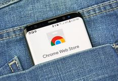 Chrome Web Store on a phone screen in a pocket royalty free stock image