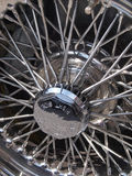 Chrome wheel. Detail of chrome wheel on classic sports car royalty free stock photography
