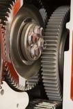 Chrome wheel cog large engine. Chrome wheel cog large internal diesel engine stock photos