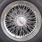 Chrome wheel spokes of a car Stock Photo