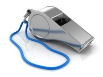Chrome Whistle with Blue Cort. Chrome Whistle , This is a 3d rendered computer generated image. on white stock illustration