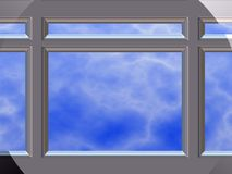 Chrome window frame. Close up of chrome window frame with sky in background royalty free stock image