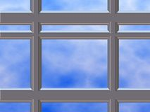 Chrome window frame. Close up of chrome window frame with sky in background royalty free stock photos