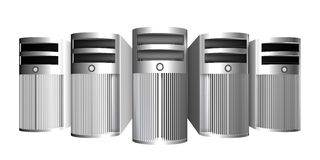 Chrome Workstations. 3D rendered illustration. Rough brushed Metal Case. Isolated on white Royalty Free Stock Photos