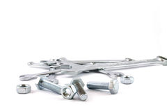 Chrome wrenches, nuts and bolts Stock Photos