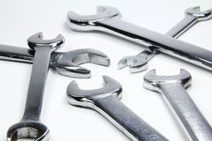 Chrome wrenches on white background royalty free stock photo