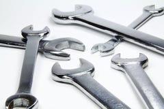 Chrome wrenches on white background Royalty Free Stock Photo