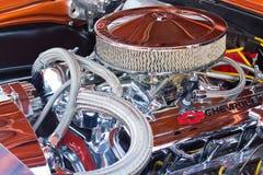 Chromed мотор автомобиля выставки Стоковые Изображения RF