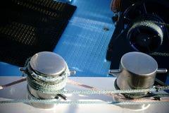 Chromed bollard. The close-up of a chromed ship`s bollard on a ship`s wall Royalty Free Stock Photography