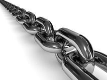 Chromed chain over white background. Stock Photo