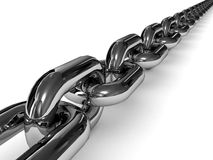Chromed chain over white background. Royalty Free Stock Photography