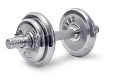 Chromed dumbbell Royalty Free Stock Images