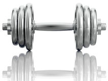 Chromed dumbbell. Royalty Free Stock Image