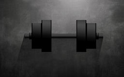 Chromed dumbbell on Black Background Stock Image