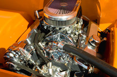 Chromed engine. Powerful hot-rod engine bay with a large number of chromed parts Royalty Free Stock Photos