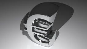 Chromed Euro Symbol. Euro symbol in polished chrome metal Royalty Free Stock Image