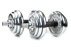 Chromed fitness dumbbell Stock Image