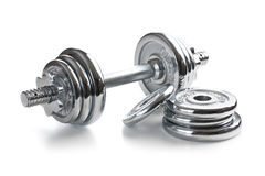 Chromed fitness dumbbell Stock Photos