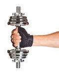 Chromed fitness dumbbell Royalty Free Stock Photos