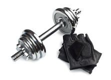 Chromed fitness dumbbell with gloves Stock Image