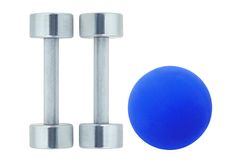 Chromed fitness dumbbells and blue ball isolated on white Stock Photography