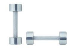 Chromed fitness dumbbells isolated on white Royalty Free Stock Images