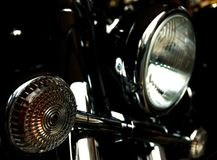 Chromed motorcycle headlights Stock Image