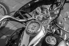 Chromed Motorcycle steering wheel. Black and white photo. Stock Image