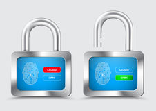 Chromed Padlock, with blue display with fingerprint for protecti Stock Photo