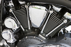 Chromed powerful engine motorcycle motor Stock Image
