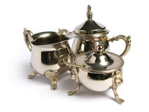 Chromed silver tea set Royalty Free Stock Photos