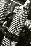 Chromed springs. Chromed motorcycle suspension close-up royalty free stock photography
