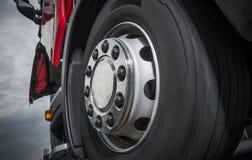 Chromed Truck Wheel Closeup. Heavy Duty Semi Truck Wheel Royalty Free Stock Images