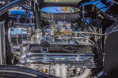 Chromed V-8 Chevy Power. A famous chromed Chevrolet small block V-8 engine Stock Images