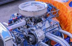 Chromed V-8 Motor. A chromed American V-8 motor Royalty Free Stock Image