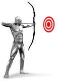 Chromeman Archer. Chrome man archer aiming at target Royalty Free Stock Images