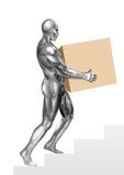 Chromeman_Carrying Box. An illustration of chrome man carrying box Royalty Free Stock Image