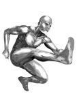 Chromeman_Jumping. An illustration of  chrome man running and jumping Stock Images