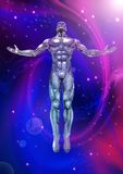 Chromeman_Positive Energy. An illustration of a chrome man figure on a cosmic background Royalty Free Stock Image